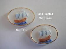 MILK GLASS  WEST  GERMAN  FULL COLOR SHIPS 18 x 13m 1960's   2 pcs