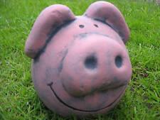 ROUND FAT PINK PIG GARDEN ORNAMENT - HEAVY STONE