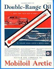 Vintage 1933 Mobiloil Arctic Double-Range Oil Red Blue Color Original Print Ad