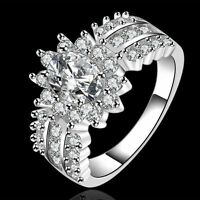 charms noble Silver Women wedding Gorgeous Zircon crystal Ring jewelry NEW R584