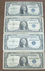"""(4) """"Star"""" Silver Certificates (3) 1957 and (1) 1935 One Note Has Tape"""