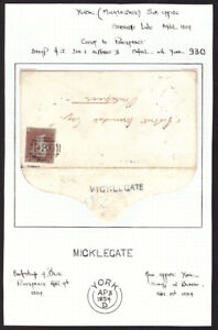 1d Red 1854 S/G C1 (Plate 165)  Perf 16 on Cover - York Micklegate to Pontefract