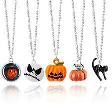 "5 x Halloween Necklace Set Silver Plated Enamel - Pumpkin Cat Scarecrow Jack 18"""