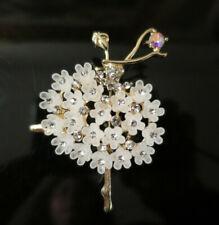 Pretty Vintage Art Deco design Ballerina Brooch, gold tone, rhinestones