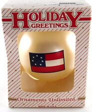 Avon Collectible Holiday Greetings Ornaments Unlimited Off White Ball w Flag NIB