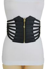 Women Black Wide Faux Leather Elastic Band Corset Belt High Waist Plus L XL XXL