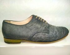 DOUCAL'S Oxford Lace Up Textured Grey Suede Women US 8.5 EU 39 Handmade In Italy