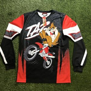 NEW w/ Tags Looney Tunes TAZ Motocross Embroidered SAMPLE Jersey Mens Large