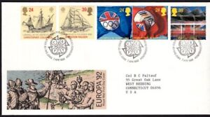 GB FDC Scott 1449-1453, 1992 Discovery of America ad Events, set of 5
