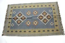 4'x6' Wool Jute Runner Vintage Area Rug Handwoven Kilim Carpet Dhurrie Throw