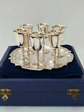 More details for cased set 6 sterling solid silver sherry goblets & tray 1978 deakin and francis