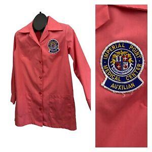 Vintage Medical Lab Coat / Pink Candy Striper Workwear Smock Shirt / Medium