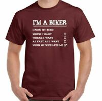 Biker T-Shirt Mens Funny Motorbike Motorcycle Wife Indian Chopper Superbike Im a