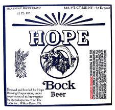 Hope Brewing Co by The Lion Inc HOPE BOCK BEER paper beer label RI 12oz Var. #1