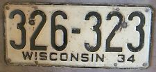 Wisconsin 1934 License Plate # 326-323