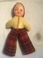 Vintage 1940's Carnival Doll Plastic Painted Face Cloth Body Stuffed