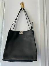 BALLY Shoulder Bag Leather Black SIVER-tone Made In SWITZERLAND