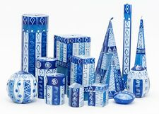 KAPULA FAIR TRADE SOUTH AFRICAN HAND PAINTED CANDLES - ' BLUE AND WHITE DESIGN '