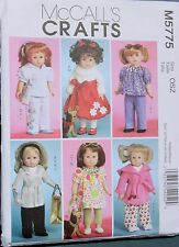 "18"" GIRL DOLL CLOTHES McCall's Sewing Pattern # 5775 American Made NEW Uncut"