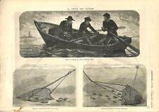 Pêche aux Huîtres Drague Rivière de Trieux Côtes-d'Armor Bretagne GRAVURE 1873