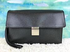 $1670 LOUIS VUITTON Salenga Black Taiga Leather Mens Wrist Pouch Bag Clutch SALE