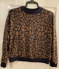 M&S Size 12 Navy Blue & Tan Leopard Print Brushed Cotton Top Jumper Sweatshirt