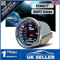 52mm 2″ 12V Bar White LED Light Turbo Boost Car Pressure Gauge Meter +