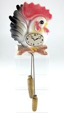 Vintage 1960s Gift Craft Kitchen Wall Décor Rooster Clock Illustration L719