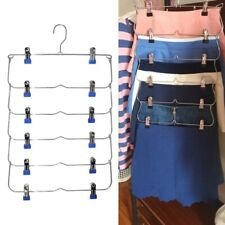 Clothes Hangers Multilayer Skirt Trouser Hanger for Pants Non Slip with 12 Clips