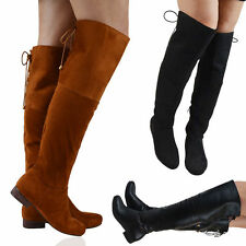 Women's Over Knee Block Zip Synthetic Boots