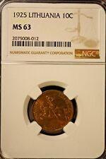 1925 Lithuania 10 Centu NGC MS 63      ** FREE U.S. SHIPPING **