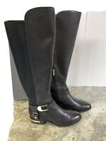 Vince Camuto Boots Pearley Knee Tall Leather Riding Harness Black Medium Calf 7W