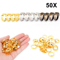 50pcs 8mm Flat Pad Ring Bases DIY Blank Findings For Jewelry Making Adjustable