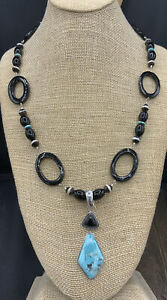 Barse Black Magic Enhancer Pendant Necklace- Onyx & Sterling Silver- NWT