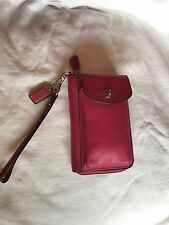 COACH CAMPBELL LEATHER CELL PHONE CASE WALLET Pink