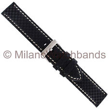 18mm Hadley Roma Carbon Fiber Black White Stitched Padded Mens Watch Band 847