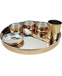 Hammered Traditional Copper Dinner Set Stainless Steel Dinnerware Serving Sets