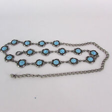 Fun Women Antique Rusty Silver Metal Chain Turquoise Blue Flower Skinny Belt S M