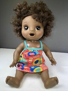 2018 Hasbro Baby Alive Dark Skin with Brown Curly Hair No Accessories