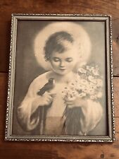 8 X10 Vintage Religious  Silver Framed Picture- Christ child bird And Daisies.