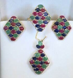14k SolidYellow Gold Cluster Set Earrings Ring Pendant,Mix Ruby Emerald Sapphire