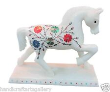 "6"" White Marble Hakik Italian Horse Floral Inlay Sculpture Elegant Gift H1413"