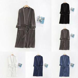 Men Women Casual Thin Long Bathrobe Kimono Home Clothes Nightgowns Sleepwears
