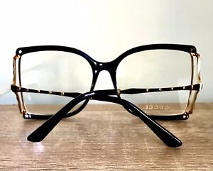 Gucci Eyeglasses Frame Oversized Black Gold  Bamboo Clear Lens Authentic New