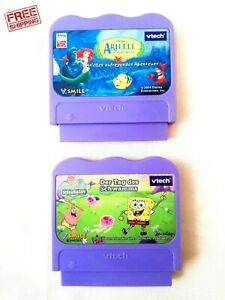 LOT OF 2 Vtech VSmile Disney's The Little Mermaid & SPONGEBOB SQUAREPANTS