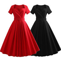 Plus Size Women's Vintage 50s Rockabilly Prom Party Swing Dress Red +Free Belt