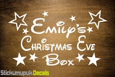 Christmas Eve Box Personalised Vinyl Name Sticker Decal, Kids gift Disney style