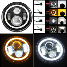 "7"" Hi/Lo Led Headlight H4 H13 Amber / White Angel Eye for Jeep Land Rover Hummer"