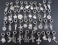 40pcs Mix Tibet Silver Pendants Dangle Beads Fit Charm Bracelet Jewelry Making