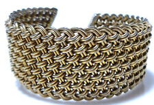 VINTAGE MESH BASKET WEAVE CABLE CHUNKY STERLING SILVER GOLD TONE CUFF BRACELET